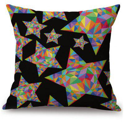 Colorful Star Linen Office Chair Sofa Throw Pillow Case