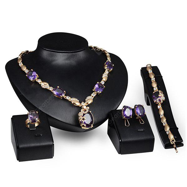 A Suit of Noble Faux Crystal Rhinestone Geometric Necklace ring Bracelet and Earrings For Women