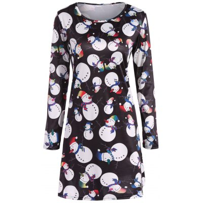 Snowman Stampa A-Line Dress Natale