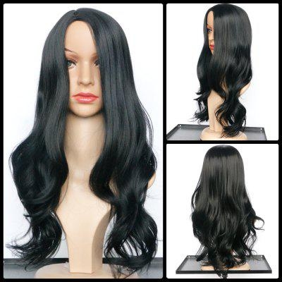 Elegant Synthetic Black Long Middle Part Wavy Wig For Women