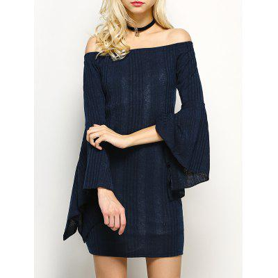 Buy PURPLISH BLUE Off The Shoulder Long Sleeve Party Dress for $15.20 in GearBest store