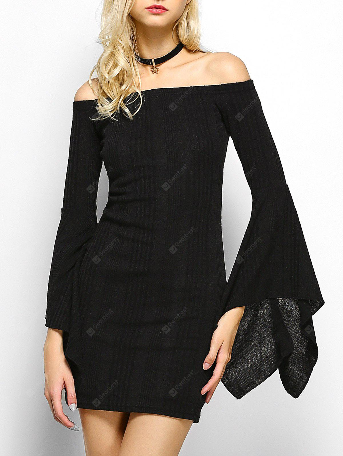 Off The Shoulder Long Sleeve Party  Dress