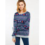 Christmas Drop Shoulder Sweatshirt - BLUE