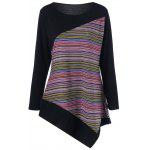 Plus Size Color Block assimétrico Tee - PRETO