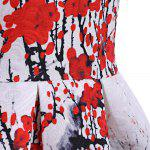 Ladylike Round Neck Sleeveless Plum Blossom Print Women's Dress - RED