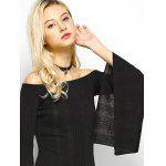 Off The Shoulder Long Sleeve Party  Dress - BLACK