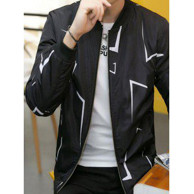 Printed Plush Lining Zip Up Jacket