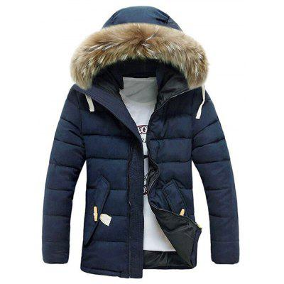 Buy BLUE L Button Pocket Zip Up Faux Fur Hooded Quilted Coat for $54.87 in GearBest store
