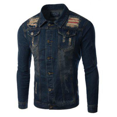 Pockets Holes and Cat's Whisker Design Turn-Down Collar Long Sleeve Denim Jacket For Men