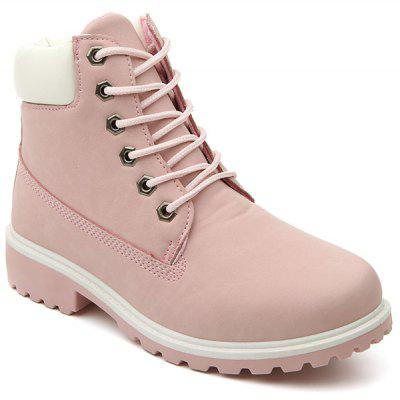 Eyelet Farbe Splice Lace Up Short Boots