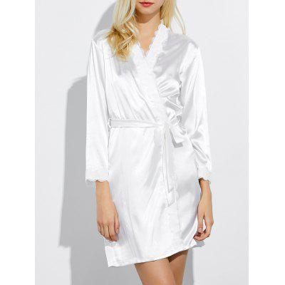 Lace Panel Long Wrap Sleep Robe