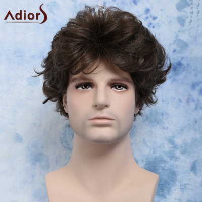 Curly Manly Short Heat Resistant Fiber Men's Wig