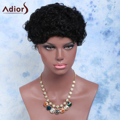 Buy BLACK Short Afro Curly Side Bang Cosplay Synthetic Wig for $12.72 in GearBest store