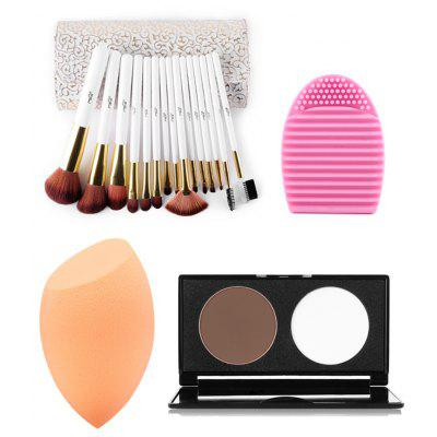 15 pcs Makeup Brushes Kit + Pressed Powder Kit + Brush Egg + Makeup Sponge