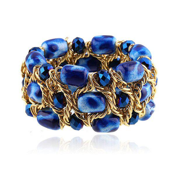 Trendy Faux Crystal Beads Hollow Out Bracelet For Women
