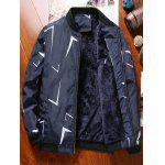 Printed Plush Lining Zip Up Jacket - BLUE