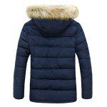 Button Pocket Zip Up Faux Fur Hooded Quilted Coat - BLUE