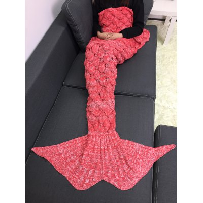 Buy LIGHT RED M Crochet Knitting Fish Scales Design Mermaid Tail Style Blanket for $27.89 in GearBest store