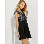 Empire Waist Lace Panel Short Prom Dress - BLACK