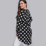 Plus Size Polka Dot High Low Blouse - WHITE AND BLACK