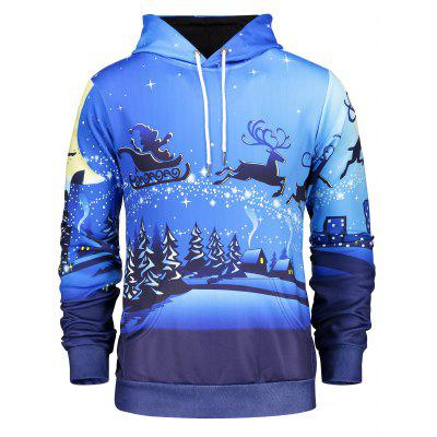 Long Sleeve Pocket Front Christmas Hoodie