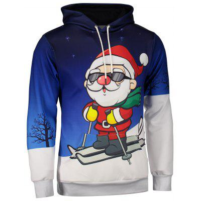 Santa Claus Print Kangaroo Pocket Christmas Patterned Hoodies