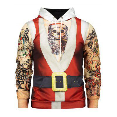 Hooded Father Christmas Costume Tattoo Pattern Hoodie