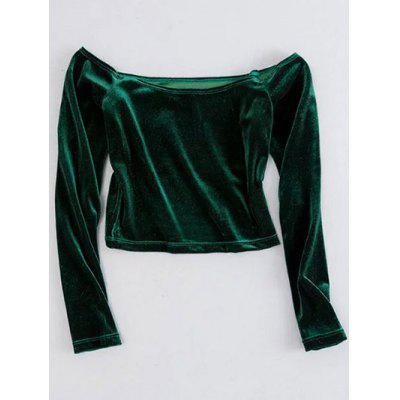 Long Sleeved Cropped Velvet Top
