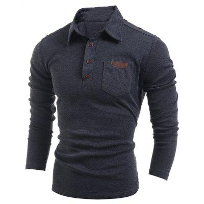 Buy DEEP GRAY Buttoned Long Sleeve Pocket T-Shirt for $16.55 in GearBest store