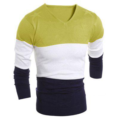 V Neck Color Block Star Sweater