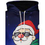 Santa Claus Print Kangaroo Pocket Christmas Patterned Hoodies - BLUE