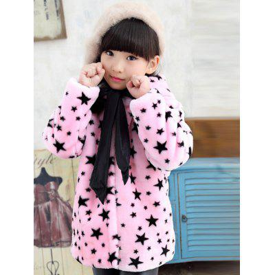 Girls Hooded Star Print Bowknot Coat