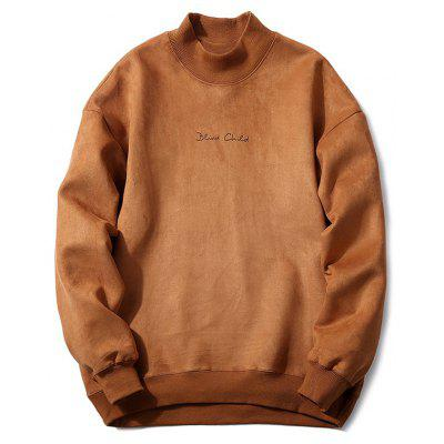 Mock Neck Embroidery Suede Brown Sweatshirt