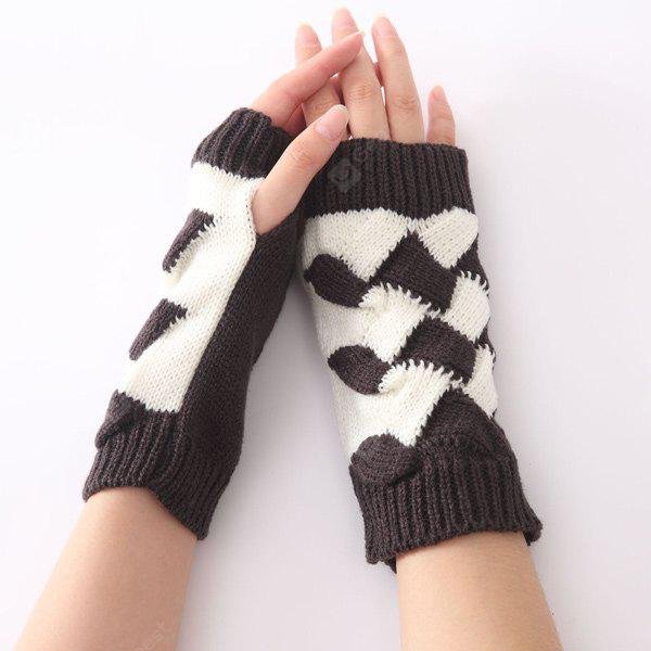 Buy Color Block Crochet Knit Checked Triangle Fingerless Gloves DEEP GRAY