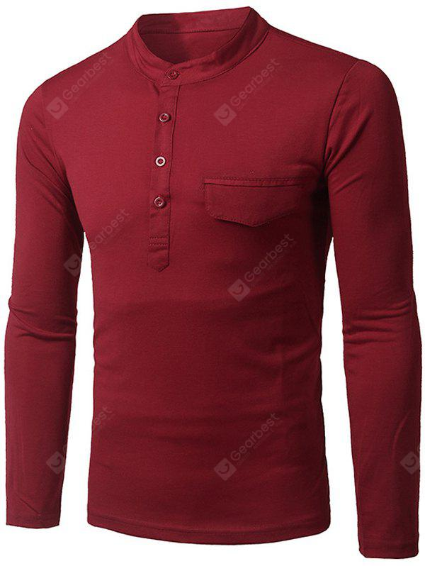 Stylish Stand Collar Slimming Pocket and Button Design Long Sleeve Polyester Polo Shirt For Men