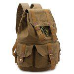 Buckle Straps Canvas Camera Backpack - KHAKI