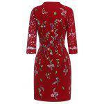 Buy Keyhole Floral Embroidered Fitted Dress 3XL