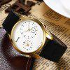 Faux Leather Vintage Quartz Watch - GOLDEN