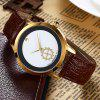Faux Leather Vintage Analog Watch - BROWN