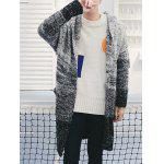 Open Front Gradient Hooded Chunky Cardigan - GRAY