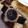 Vintage Faux Leather Rhinestone Watch - ROSE GOLD