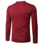 Buy Stylish Stand Collar Slimming Pocket Button Design Long Sleeve Polyester Polo Shirt Men L RED