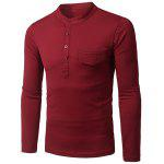 Stylish Stand Collar Slimming Pocket and Button Design Long Sleeve Polyester Polo Shirt For Men - RED