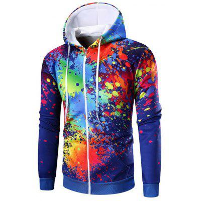 Paint Splatter печати Zip Up Hoodie