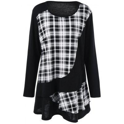 Plus Size Plaid Trim Overlay T-Shirt