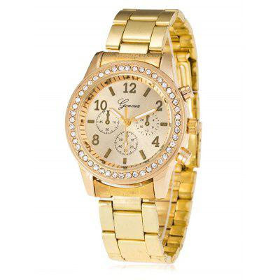 Rhinestone Metal Analog Wrist Watch
