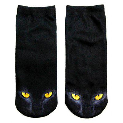 3D Black Cat Printed Crazy Ankle Meias