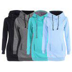 Slimming Pullover Pockets Design Hoodie - LIGHT BLUE