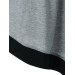 Plus Size Asymmetrical Two Tone T-Shirt - BLACK AND GREY