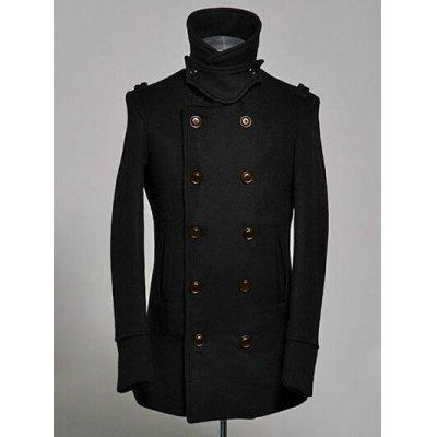 Double Breasted Epaulet Design Wool Blend Coat